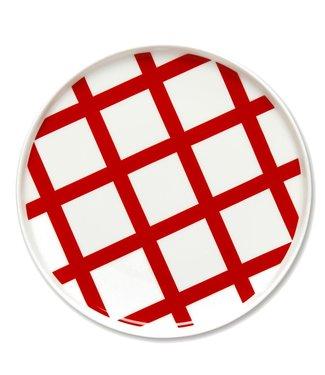 Marimekko Marimekko Oiva Spaljé 20cm bord gebroken wit-rood.