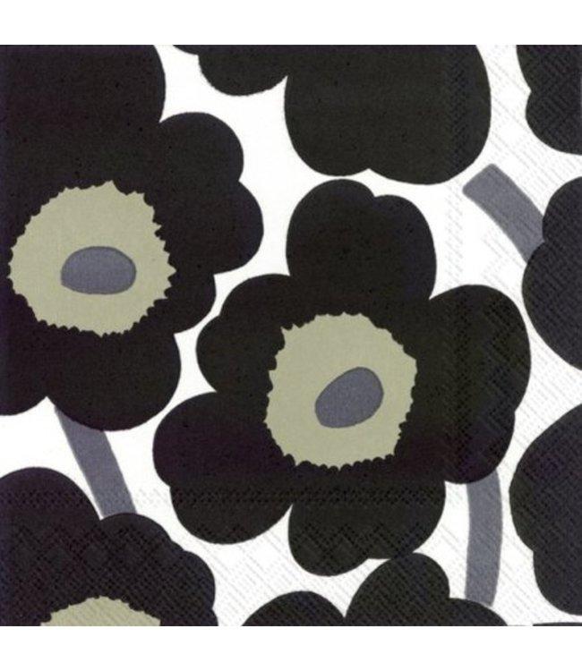 Marimekko Marimekko Unikko Papieren Servetten 33x33cm Zwart