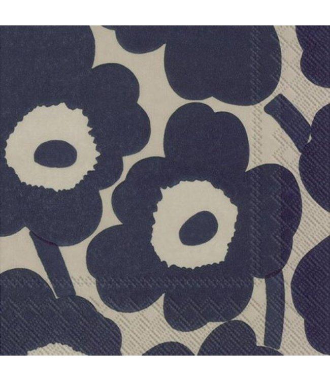 Marimekko Marimekko Unikko Papieren Servetten 33x33cm Beige Donkerblauw