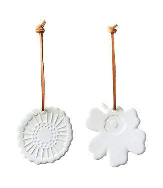 Marimekko Marimekko Christmas hanging ornaments set white stoneware