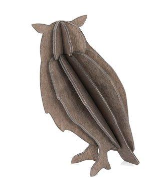 LOVI Lovi Owl grey wood Birch plywood 3D-animal DIY package