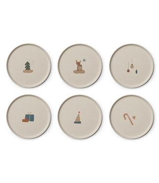 Liewood Liewood Patrick Bamboe Bordenset Kerst Crème Set van 6