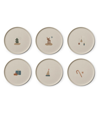 Liewood Liewood Patrick Bamboo Plate  Christmas Crème Set of 6