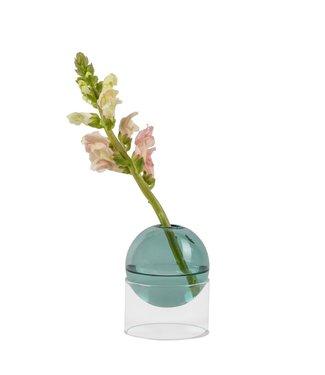 Studio About Studio About Standing Flower Bubble glazen vaas op lage voet Cyaan