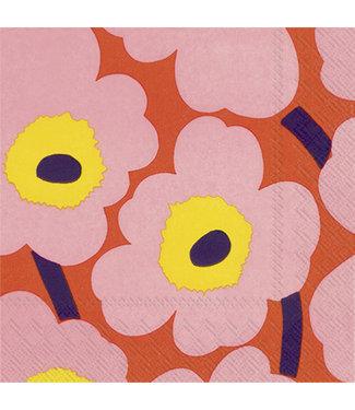 Marimekko Marimekko Unikko Papieren Servetten 33x33cm roze oranje