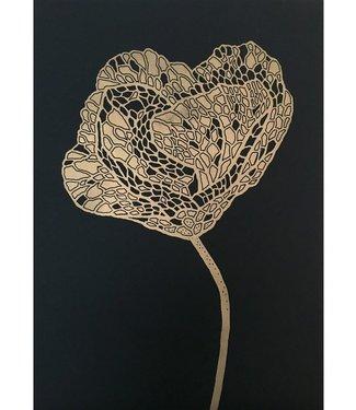 Monika Petersen Monika Petersen Lino Print Gold Poppy 2 Gold Black 50x70