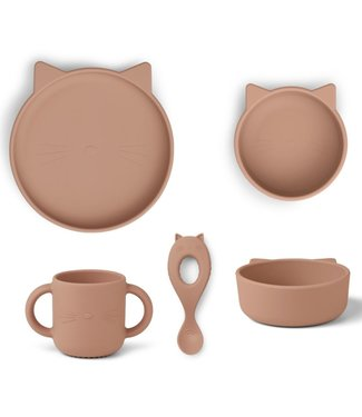 Liewood Liewood Vivi Silicone Children's Dinner Set Cat Dark Rose