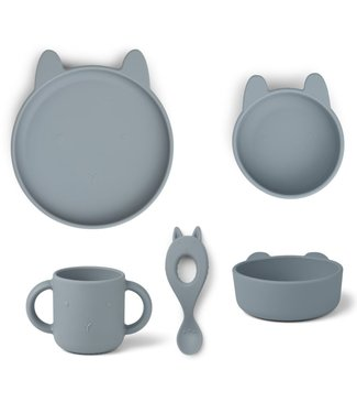 Liewood Liewood Vivi Silicone Children's Dinner Set Rabbit Sea Blue