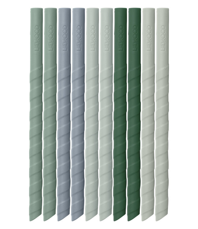 Liewood Liewood Zoe Silicone Straws  Green Multi Mix Set 10 Pack