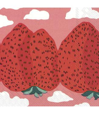 Marimekko Marimekko Mansikkavuoret Papieren Servetten roze 33x33cm