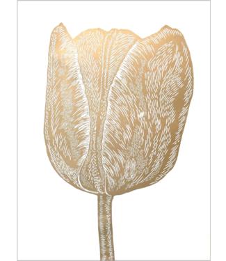 Monika Petersen Monika Petersen Lino Print Gold Tulip White 50x70