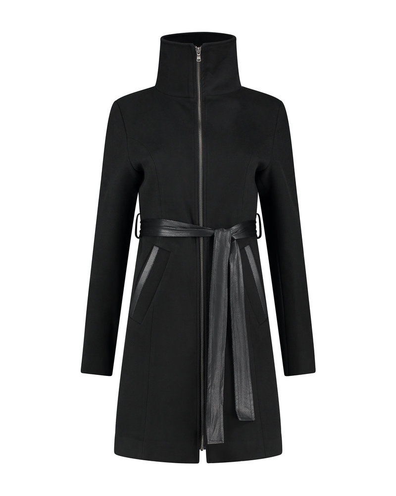 LOVE2WAIT Coat Double Zipper-Black