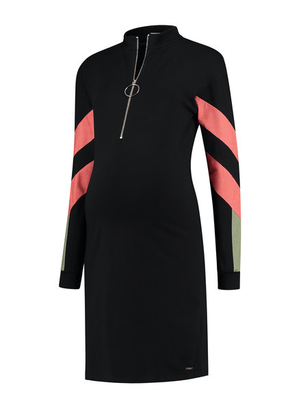LOVE2WAIT Dress Colorblock Nursing-Black