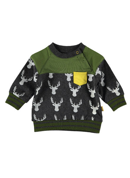 BESS Sweater AOP Deer-Anthracite-19806-003