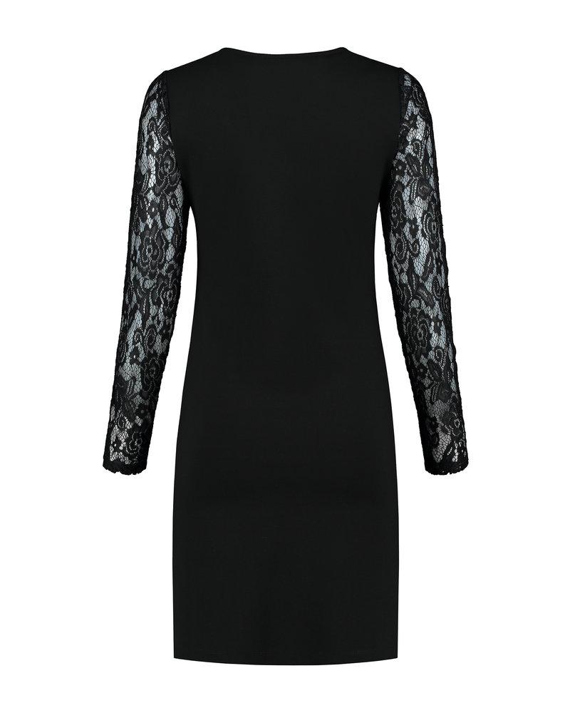 LOVE2WAIT Dress Ponte Lace Nursing-Black