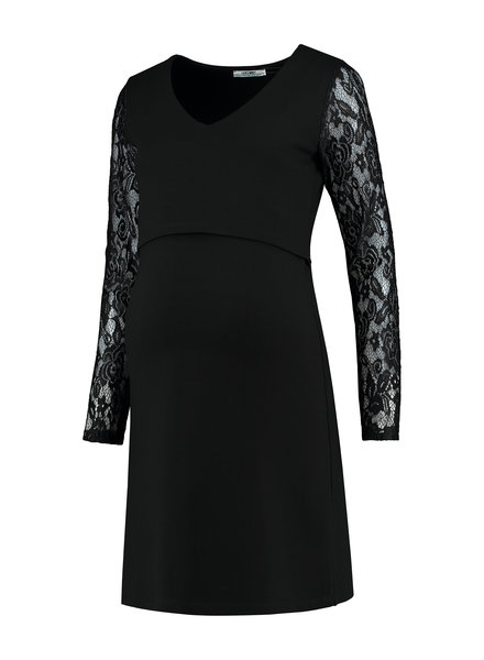 LOVE2WAIT Dress Ponte Lace Nursing-Black