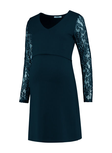 LOVE2WAIT Dress Ponte Lace Nursing-Teal