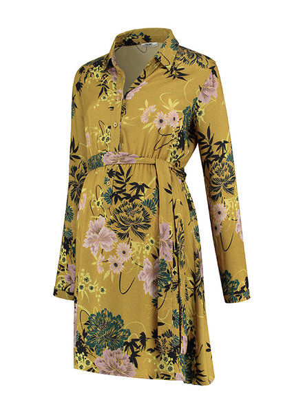 LOVE2WAIT Dress AOP Flower-Ocre