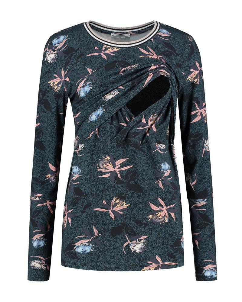 LOVE2WAIT Shirt Nursing AOP Glassgreen Flower-Dessin