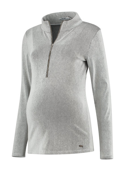 LOVE2WAIT Shirt Striped Zipper Nursing-Pinstripe White
