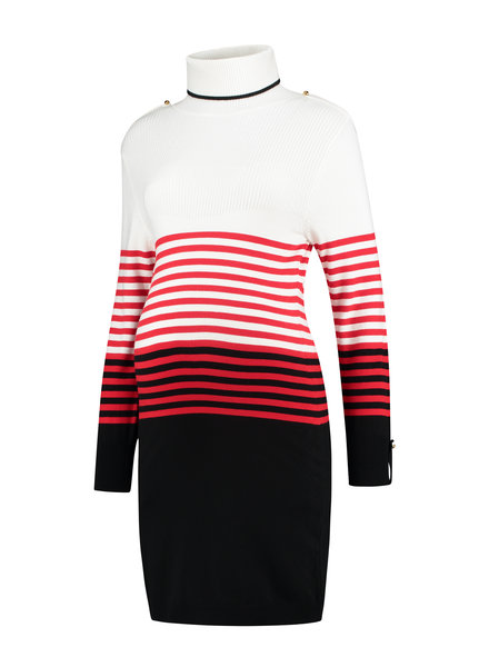LOVE2WAIT Dress with Collar Striped-Black