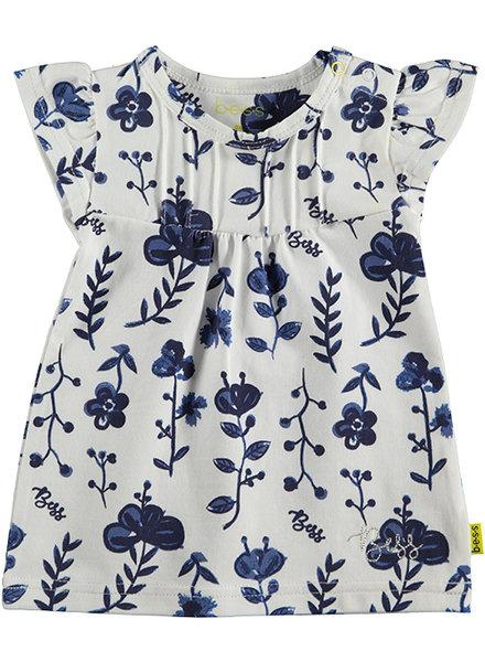BESS Dress AOP Blue Flowers White