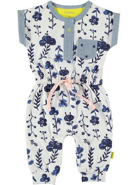 BESS Suit sh.sl. AOP Blue Flowers White