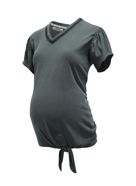 LOVE2WAIT Shirt Cupro Touch Knot-Charcoal