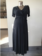 LOVE2WAIT Long Dress Nursing Cupro Touch-Charcoal