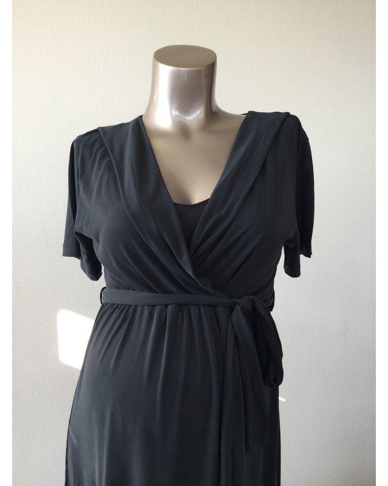 LOVE2WAIT Long Dress Nursing Cupro Touch-Charcoal
