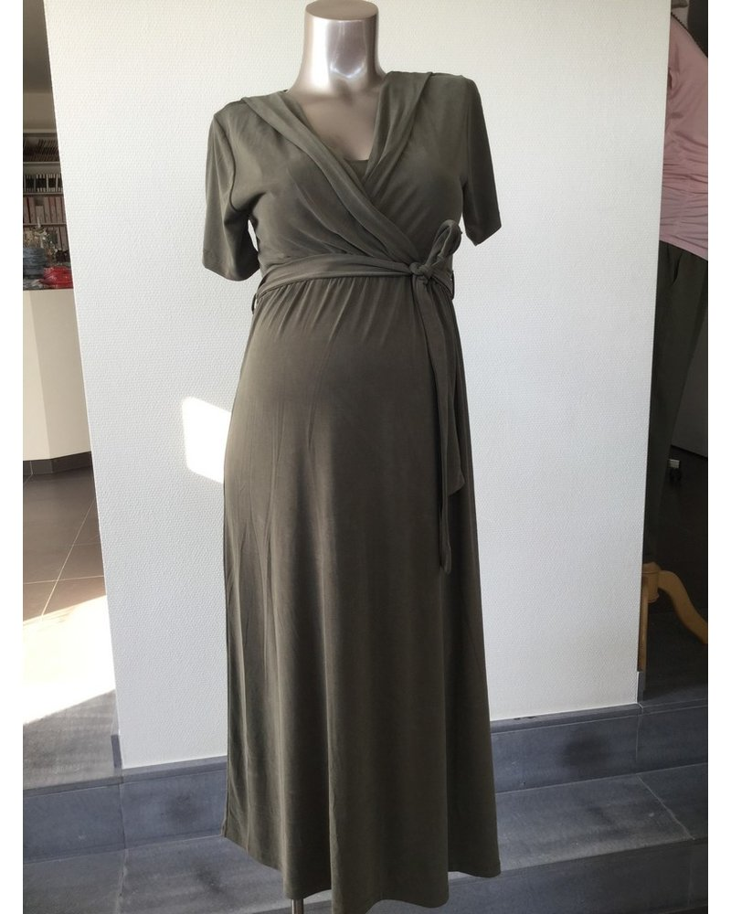 LOVE2WAIT Long Dress Nursing Cupro Touch-Green