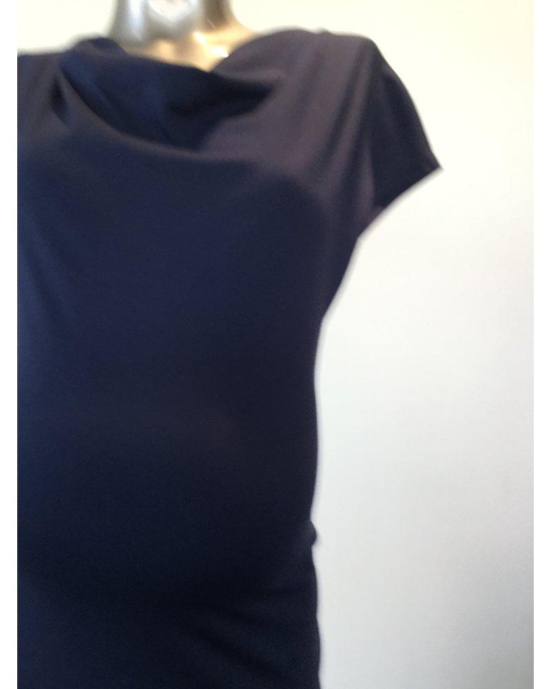 FRAGILE DRAPPED NECK DRESS D11 NAVY