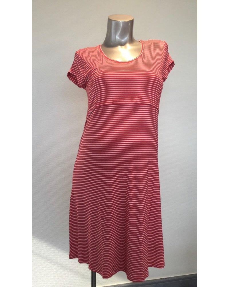 OHMA NURSING DRESS STRIPED 52030062 RED