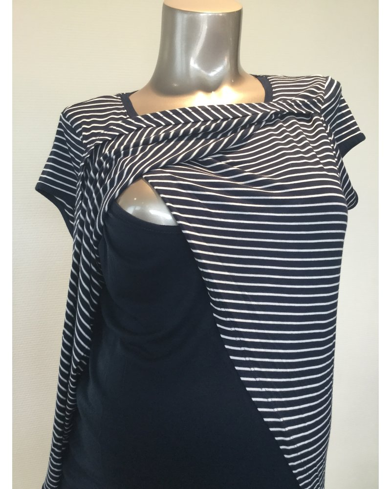 OHMA STRIPED NURSING TEE CROSSED ON FRONT 52950645/NAVY-WHITE