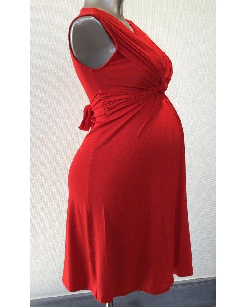 PIETRO BRUNELLI MILKY DRESS PAPAVER SHORT VERSION LIPSTICK RED