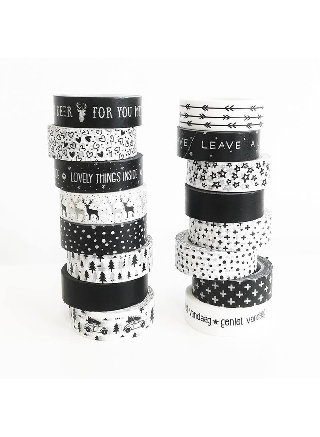 Masking Tape white with black hearts mix