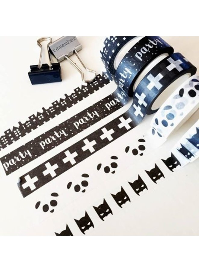 Masking Tape zwart met witte plussen