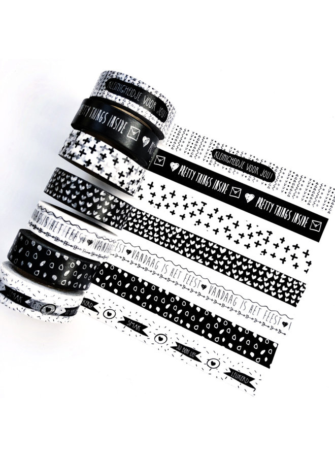 Masking Tape Hearts white