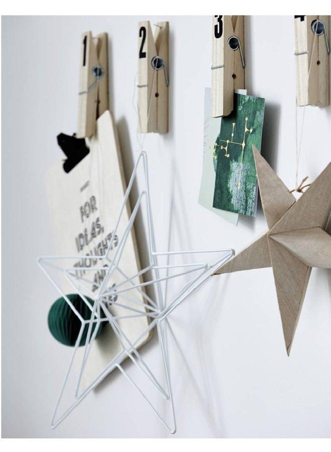 Metal Star wire, white, 40cm