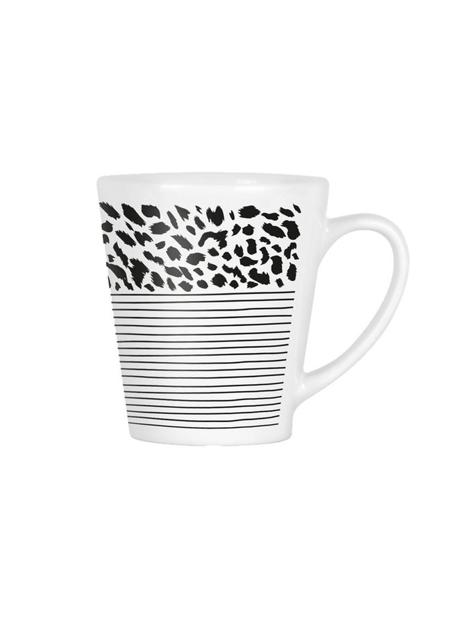Mug with black and white print | stripes and panther