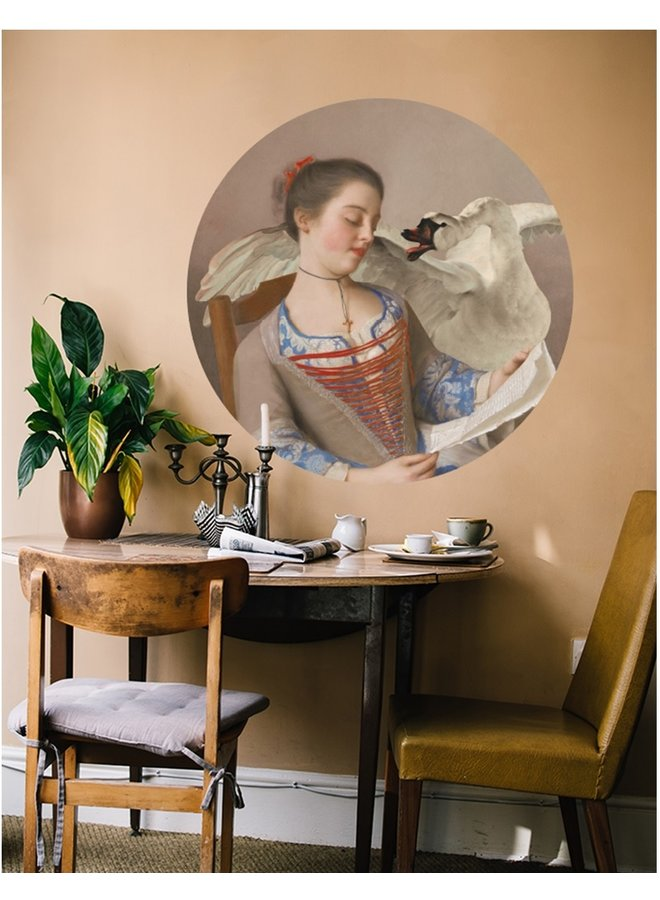 Wall Circle Girl with swan
