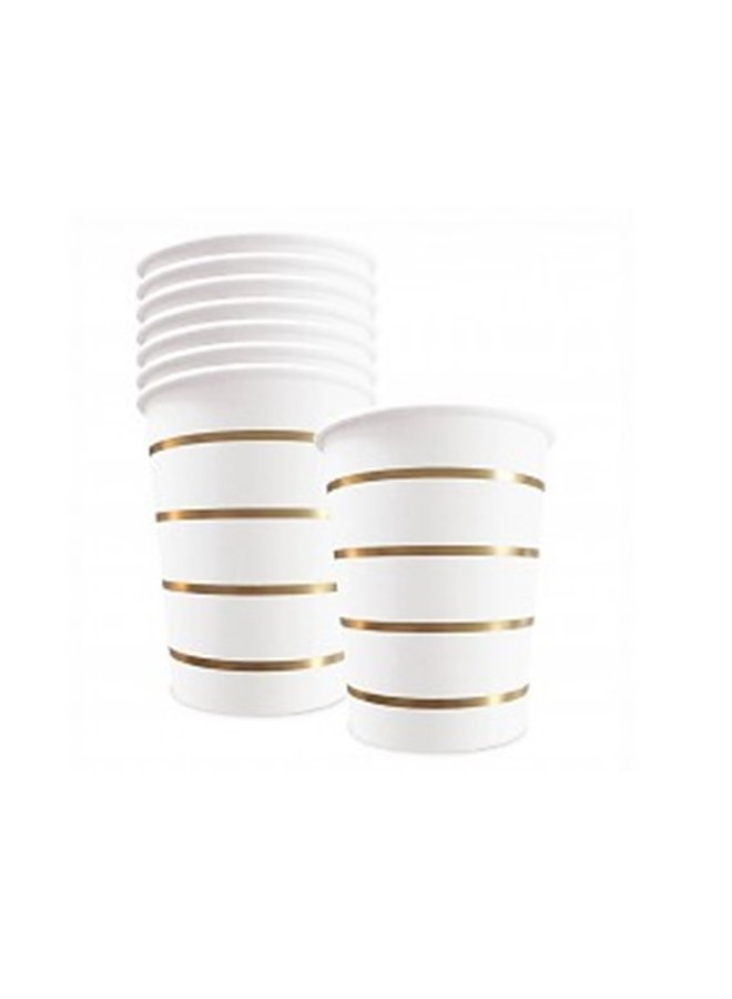 Paper drinking cup golden stripes  250 ml set/8