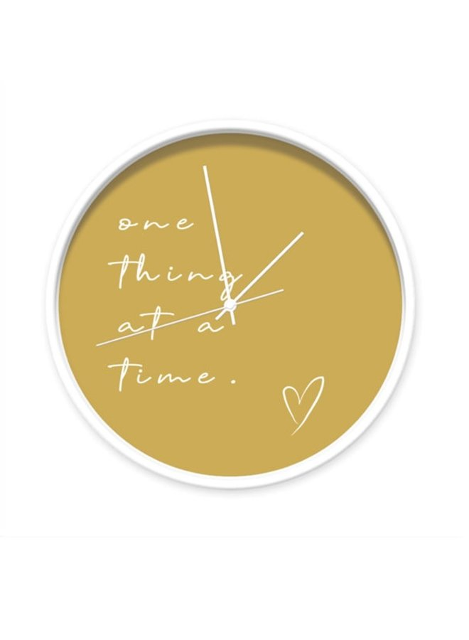 """Yellow ocher Clock with quote """"one thing at a time"""""""