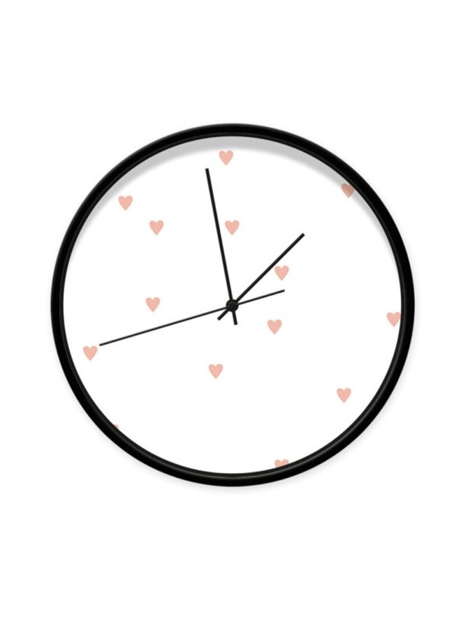 Clock white with pink hearts