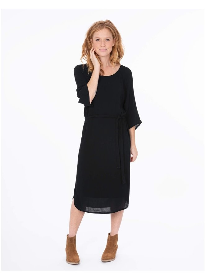 Casual dress with belt black