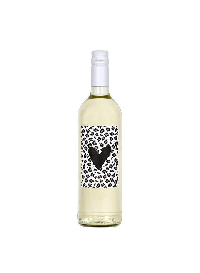 Bottle label with heart and leopard print
