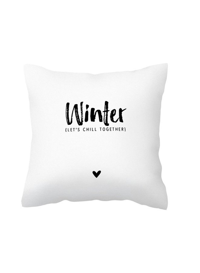 Pillow with bear claw and text 'Winter let's chill together'