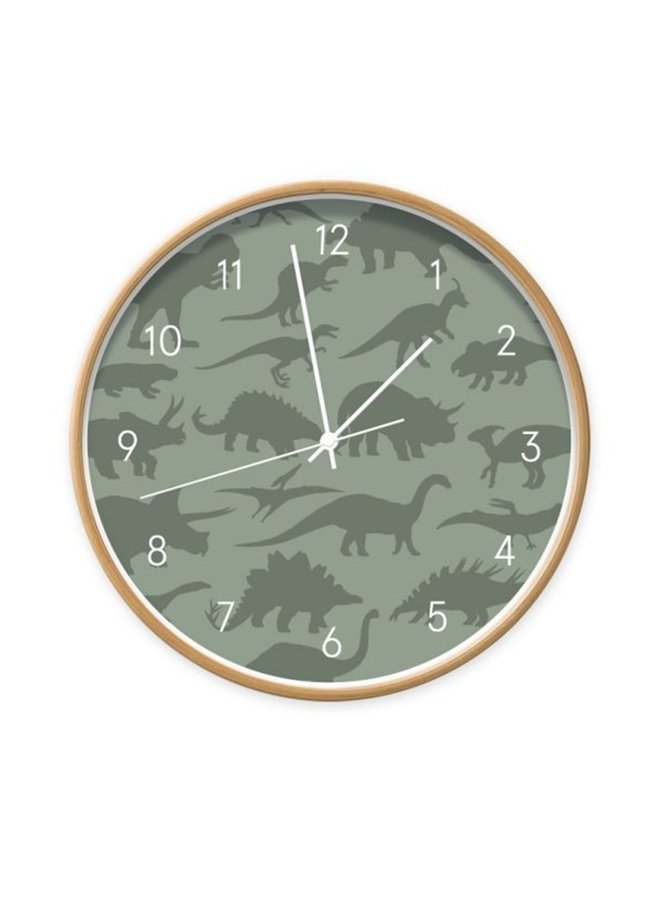 Children's clock Dino green
