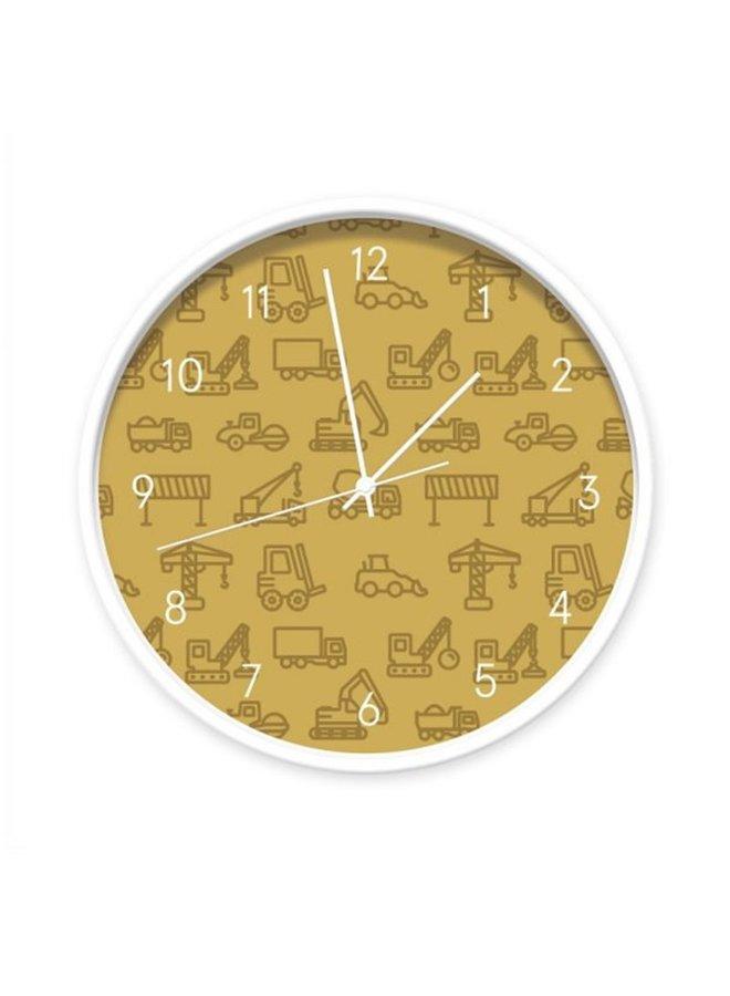 Children's clock Vehicles ocher yellow