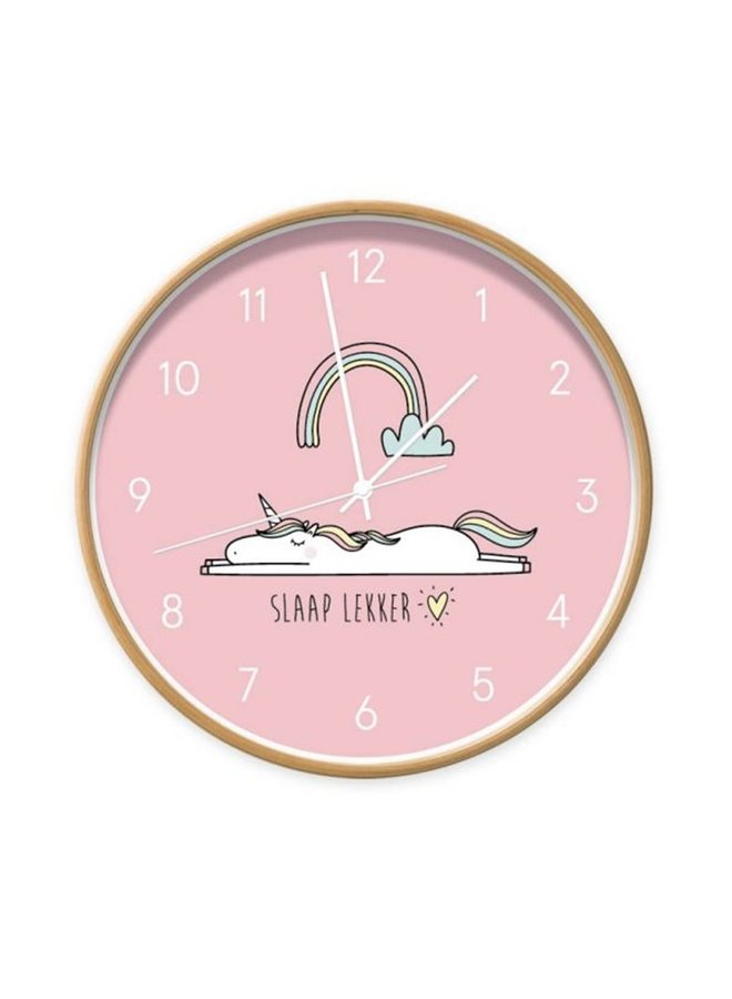Roze Unicornklok 'slaap lekker'